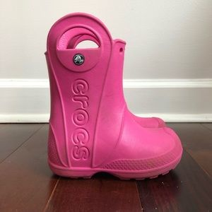 CROCS Handle It Rain Boots Pink Easy Pull On Boot